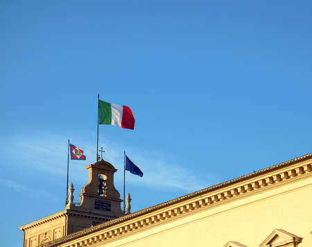 Rome, RM, Italy - March 3, 2019:Italian and european Flags in the Quirinale Palace, the  headquarters of the President of the Italian Republic