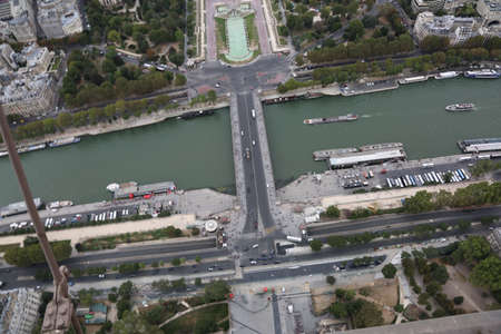 incredible awesome view from Eiffel Tower in Paris France with Seine River