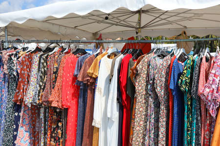 Stand of clothes at outdoor market in summer Zdjęcie Seryjne