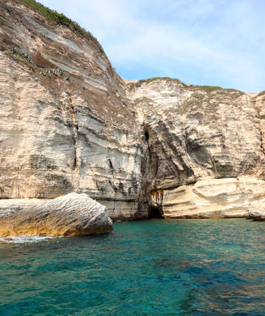 Detail of rocks near Bonifacio Town in Corsica Island in France from the sea Stock Photo