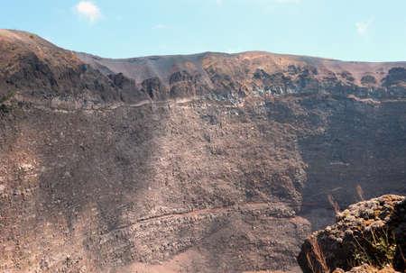 very wide crater of Volcano called Vesuvius or Vesuvio in Italian language near Naples