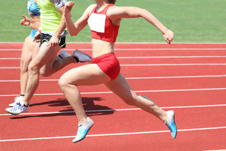 young atlhete with long legs on sport venue during a speed race in USA
