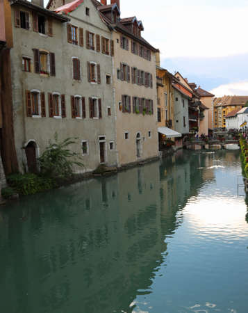 annecy town in France and the Thiou River in downtown