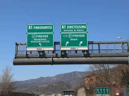 traffic sign on italian highway with text that means direct road to Florence or Panoramic road called A1 or Direttissima
