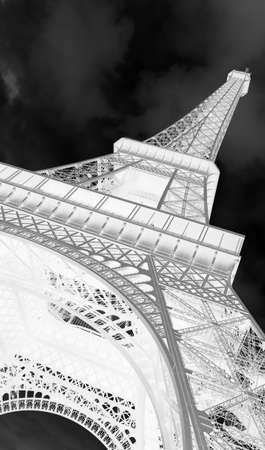 Bottom View of High Eiffel Tower in Paris France with negative effect Imagens