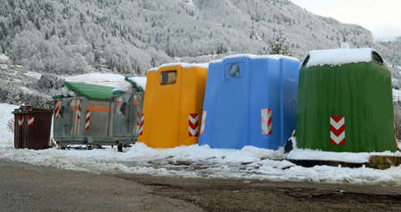 many bins for the collection of waste in the mountain town Reklamní fotografie