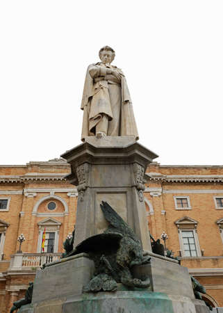 Recanati, MC, Italy - November 2, 19: Statue of Giacomo Leopardi an italian poet and writer in the main square