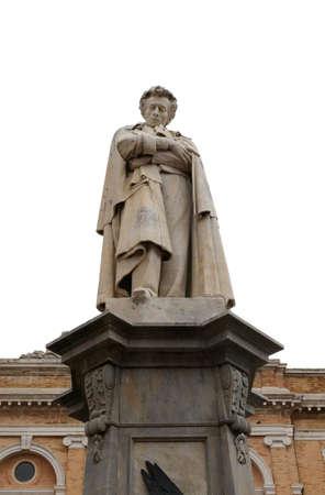 Recanati, MC, Italy - November 2, 19: Statue of Giacomo Leopardi a major italian poet and writer in the main square