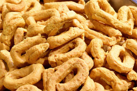 background of many tarallini typical baked food of South Italy Stock Photo