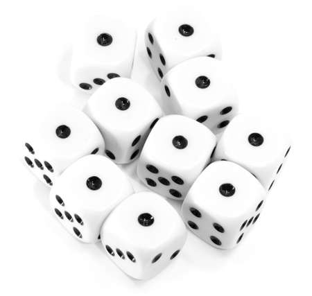 many playing dice all with the number one on a white background