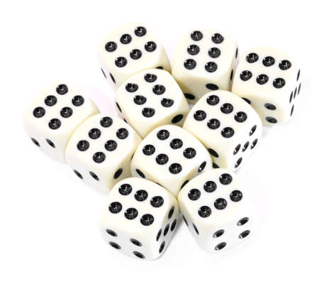 many playing dice all with the number six on a white background