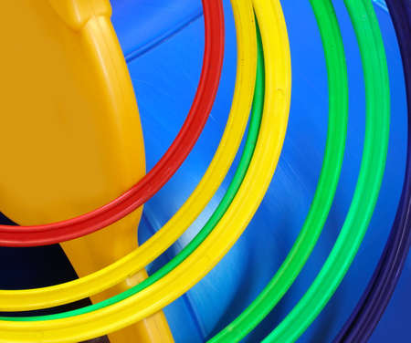 background of many plastic circles in a playground for children