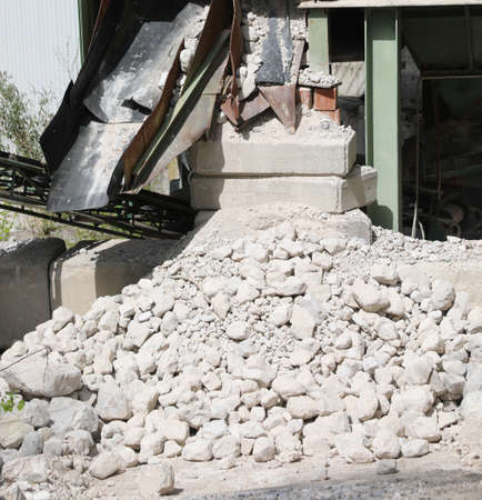stones in the industrial stone quarry and the crushing machine