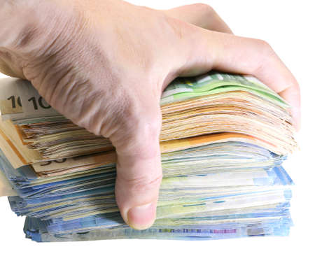 hand of a man grabbing a huge pile of money on a white background Imagens