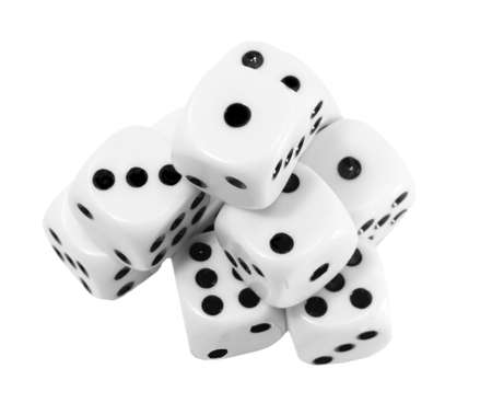many big white dice on  the white background