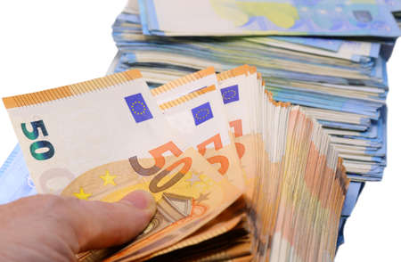 fifty and twenty money in european banknotes on the hand