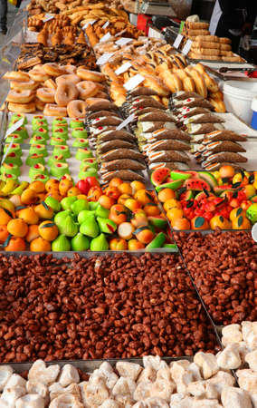 stall with many sweets typical of southern Italy with sweet almonds and cannoli and fruit made of marzipan