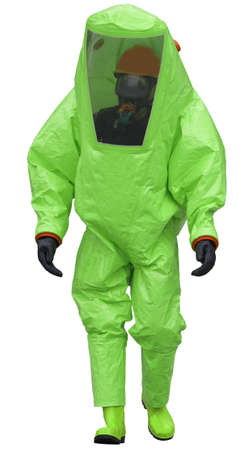 protective suit of the doctor with the medical mask and the respirator to avoid the infection by viruses and bacteria on the white background