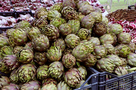 pile of big greens ARTICHOKES in the boxes for sale of the greengrocer s stall at the local market Standard-Bild