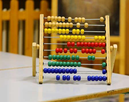vintage abacus to learn to count in kindergarten without people