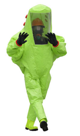 protective suit of the doctor to avoid radiation or virus infection on a white background 写真素材