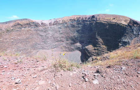 crater of volcano Vesuvius near Naples in Italy in summer without people