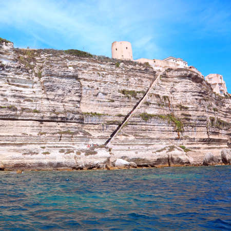 Stairway of Aragon King in Bonifacio Town in Corsica in France