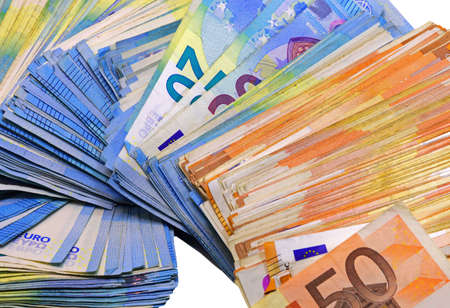 european money in twenty and fifty banknotes on a white background Archivio Fotografico