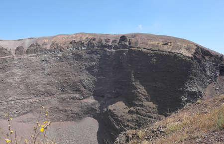 gigantic crater of the extinct volcano called Vesuvius near the city of Naples in southern Italy