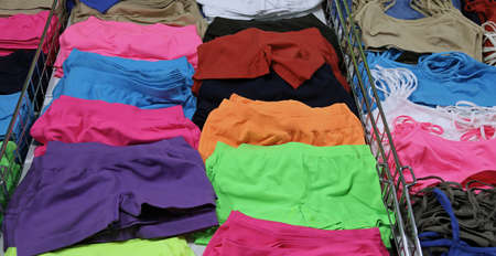 underpants and colorful tank tops and underwear for sale at the market stall