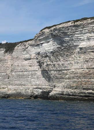 white cliff overlooking the sea in Bonifacio in Corsica