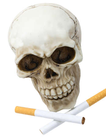 Grinning human skull with two cigarettes crossed on white