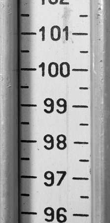 detail of the metal meter with numbers and also the number one hundred in large numbers with black and white effect