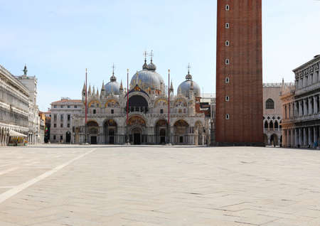 Basilica of Saint Mark Square in the empty Main Square  in Venice Italy without people due to the lockdown caused by the Corona Virus