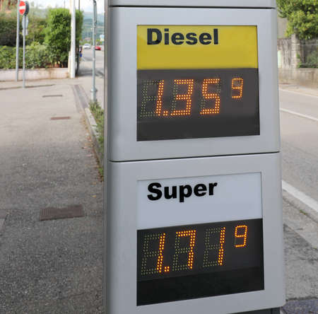 Price of petrol and diesel fuel in a European petrol station with the cost in Euros