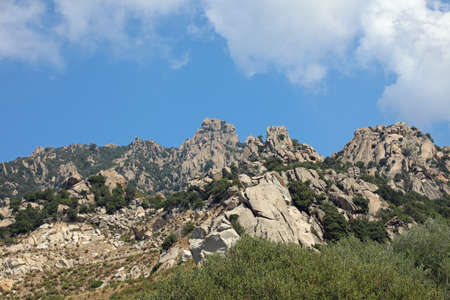 panorama of the rock of the bleak hill near the French island Corsica