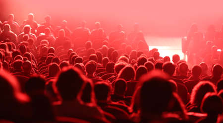 many heads of people during concert and red lights