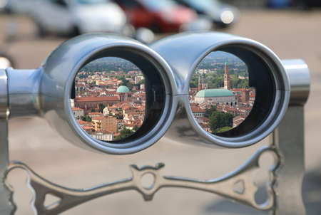 view of vicenza city in Northern Italy into the lens of binoculars