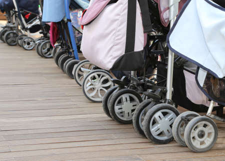 many wheels of the strollers without kids