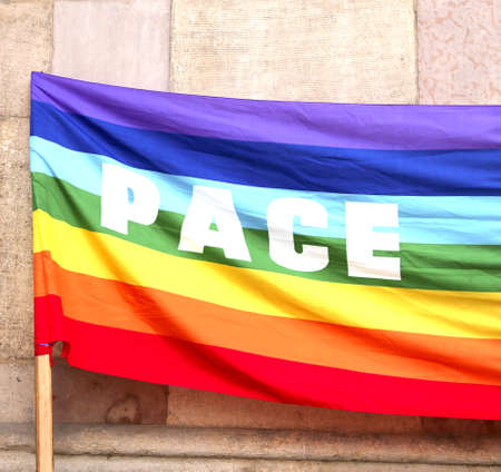 Flag with many colors with text PACE that means Peace in Italian Language