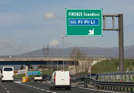 crossroad to italian freeway called FiPiLi and Florence and Scandicci City