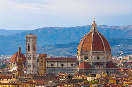 Florence Cathedral with the famous bell tower of the artist Giotto in Florence in the Tuscany region of Italy Imagens