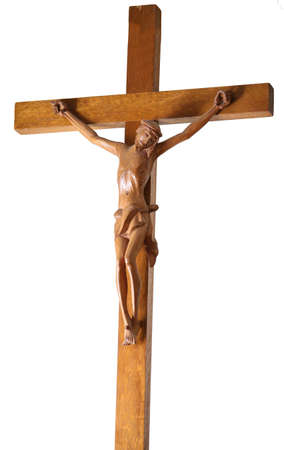 large wooden crucifix with the statue of jesus symbol of the catholic religion on a white background Banque d'images