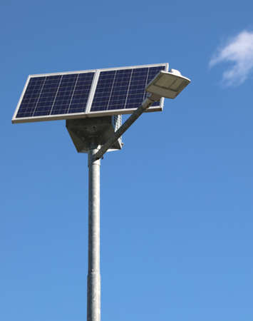 street lamp powered by a photovoltaic panel is a group of batteries for street lighting with eco-sustainable energy
