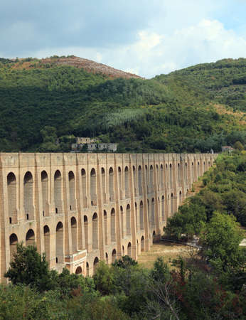 imposing structure of the Aqueduct called Carolino aqueduct near the Royal Palace of Caserta in southern Italy to bring water to the royal residence