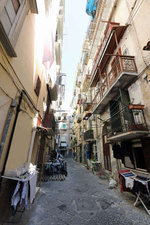 Naples, NA, Italy - August 20, 2019: House in Downtown called Spanish district or Quartieri Spagnoli in Italian language