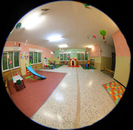 Playroom of a kindergarten seen from a security camera for monitoring children