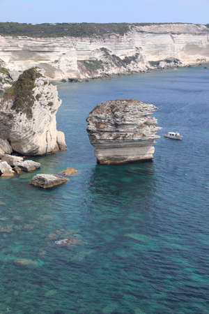 large sea stack in the Mediterranean Sea near the town of Bonifacio in the French island of Corsica