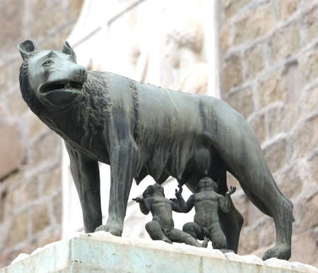 Statue of capitoline wolf also called LA LUPA in Italian Language in Rome Italy and the twins Imagens