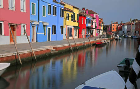 Navigable waterway of Burano Island near Venice in Northern Italy